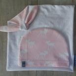Picture of roze set speendoek/muts Hertje