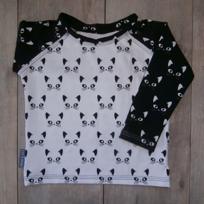 Picture of shirt Poes zwart/wit maat 80